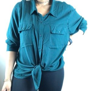 Croft & Barrow • Olive Green Button-up Blouse.